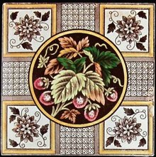 Antique English Transfer Floral Tile - Strawberries