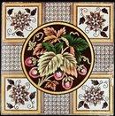 Antique English Transfer Floral Tile - Strawberries