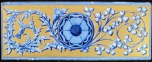 Antique English Copeland Aesthetic Gilt Border Tile