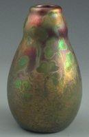 Antique Weller Sicard Iridescent Cabinet Gourd-Shaped Vase