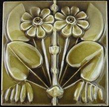 Antique American Arts & Crafts Majolica Tile - J.& J.G. Low
