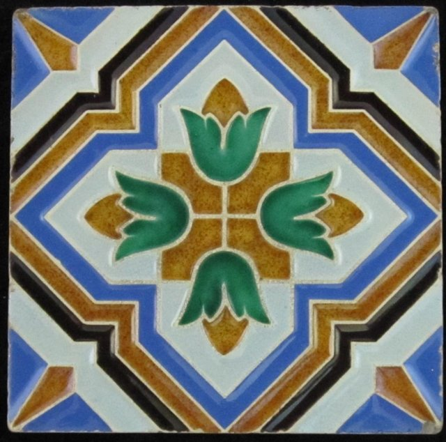 Antique Maw NeoGothic Majolica Tile