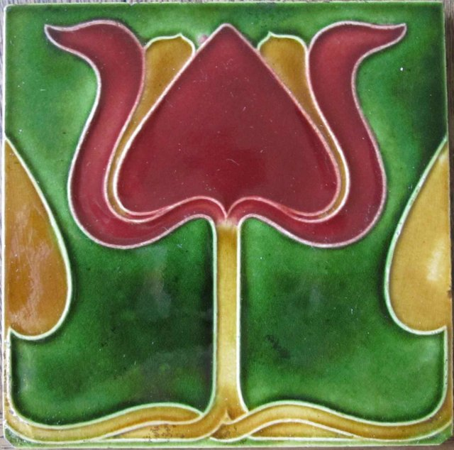 Antique English Art Nouveau Tile