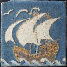 Grueby Faience Antique Ship Wall Tile