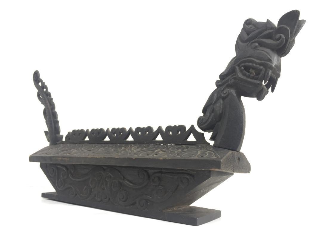 AUTHENTIC 770mm DAYAK TOMB Burial Chamber Urn Sandung Naga Coffin Statue Borneo