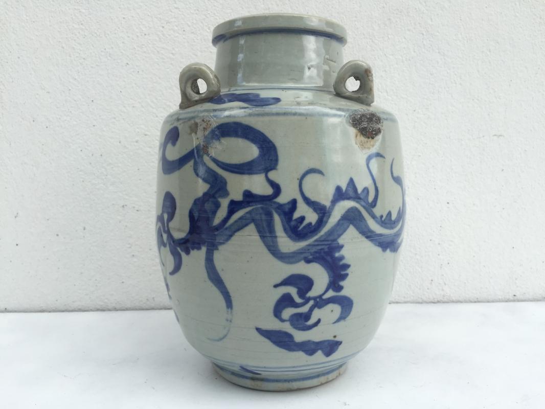 BLUE NAGA JAR 240mm Qing Dynasty (1644-1912)Dragon Pot Pottery Vase Wine Kettle
