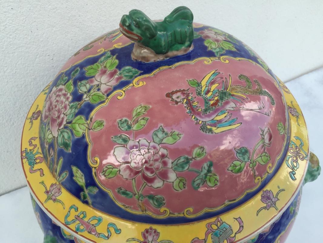BLUE GIANT 6.9kg KAMCHENG RARE BLUE & PINK Nyonya Ware Covered Jar Porcelain Pot