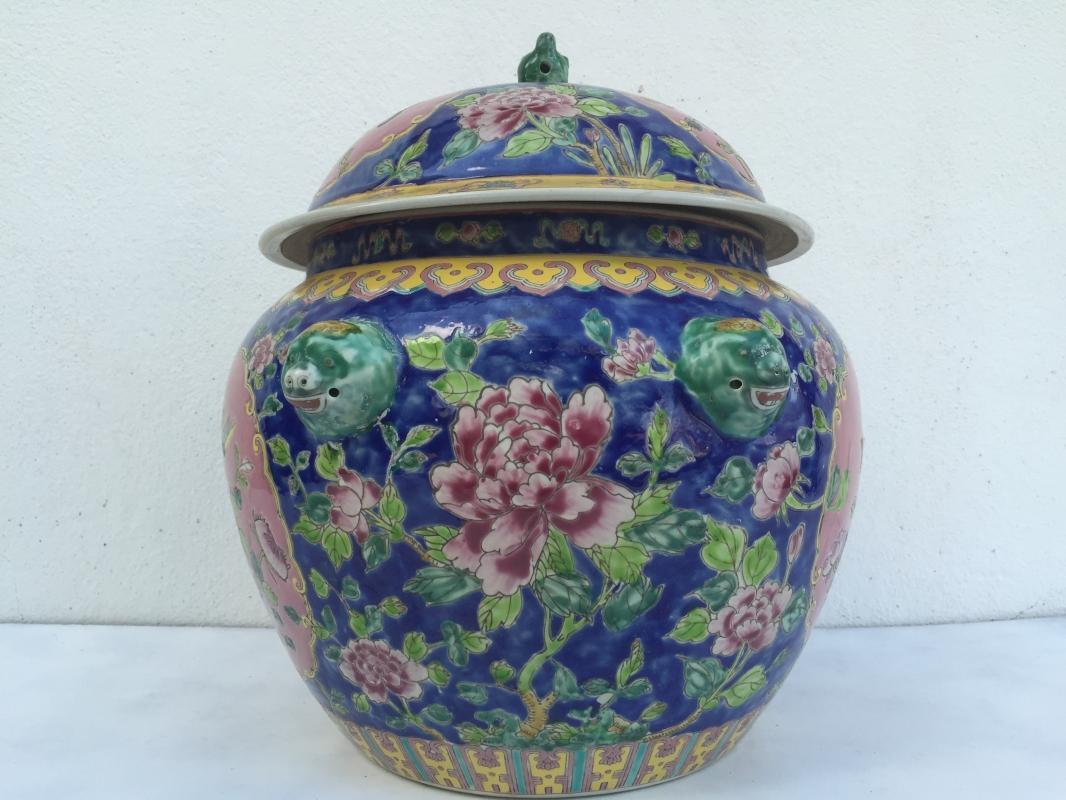 BLUE GIANT 6.9kg KAMCHENG RARE BLUE & PINK Nyonya Ware Covered Jar Porcelain Pot