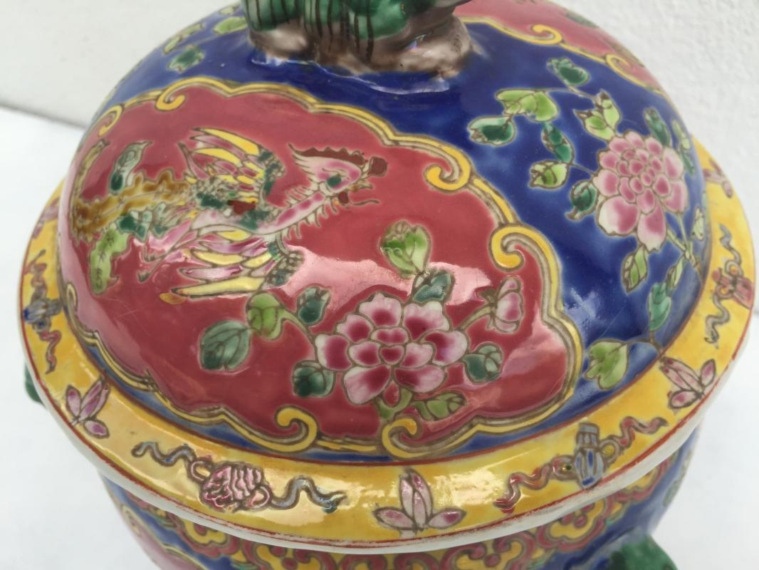 BLUE Kamcheng & Gold Fish 230mm COVERED JAR Box Kam Cheng Kitchen Chinese Container Bowl