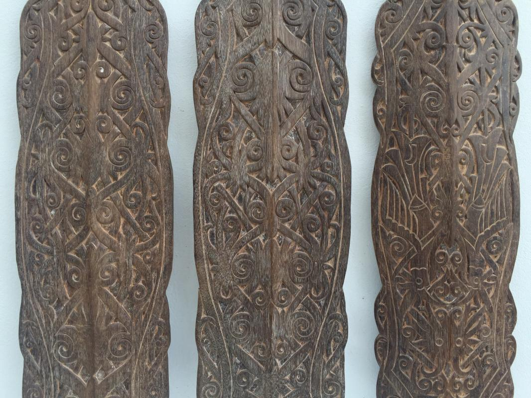 XxxL LARGE (Height: 47) ASIAN ARMOR Tribe Dayak Asia Shield Wall Panel Painting