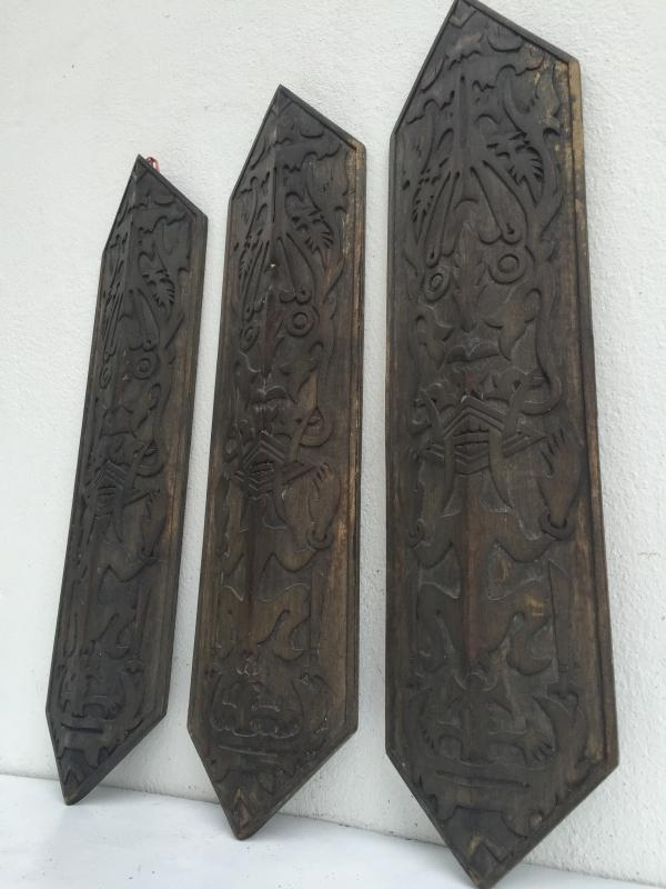 TRIBAL PAINTING x 3 OLD WALL PANEL Shield Figure Statue Dayak Dyak Native Asia