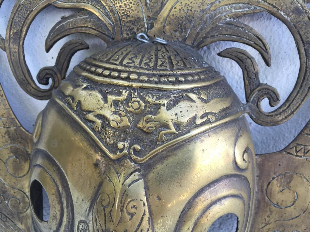 BATAK KARO MASK 420x350mm Brass Bronze Cast Facial Sculpture Statue Shiny Gold