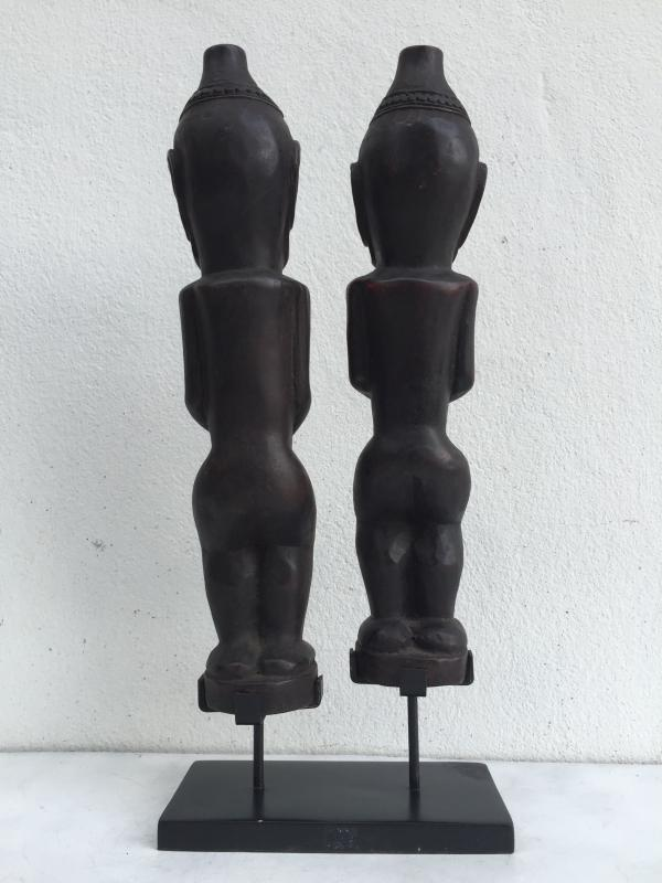 MALE & FEMALE 390mm BATAK WARRIOR STATUE Ancestral Facial Sculpture Indonesia