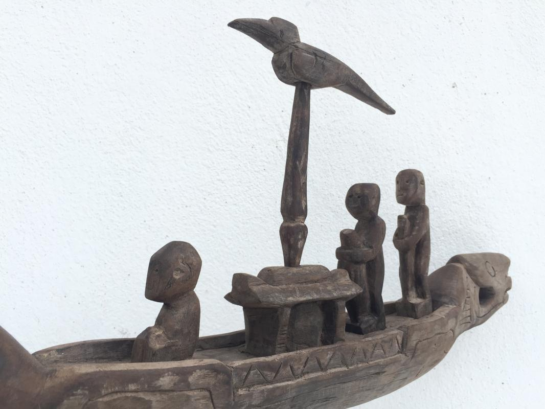 COFFIN BOAT ON STAND 400mm LOVELY VESSEL Native Sculpture Statue Figure Dayak