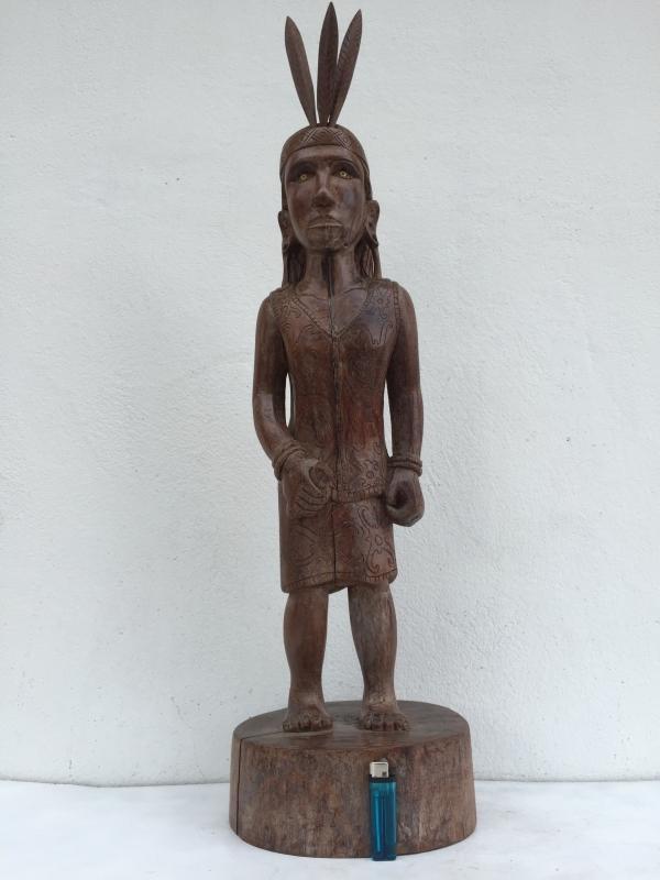 DAYAK FEMALE WARRIOR FIGURE Statue Sculpture Image Icon Borneo Headhunter Papua