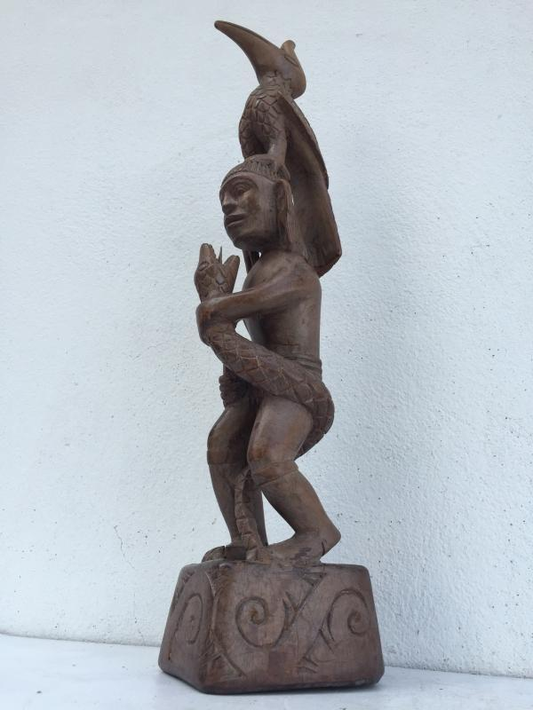 WARRIOR & NATURE IMAGE Antique Dayak Statue Sculpture Icon Figure Home Bar Office Borneo