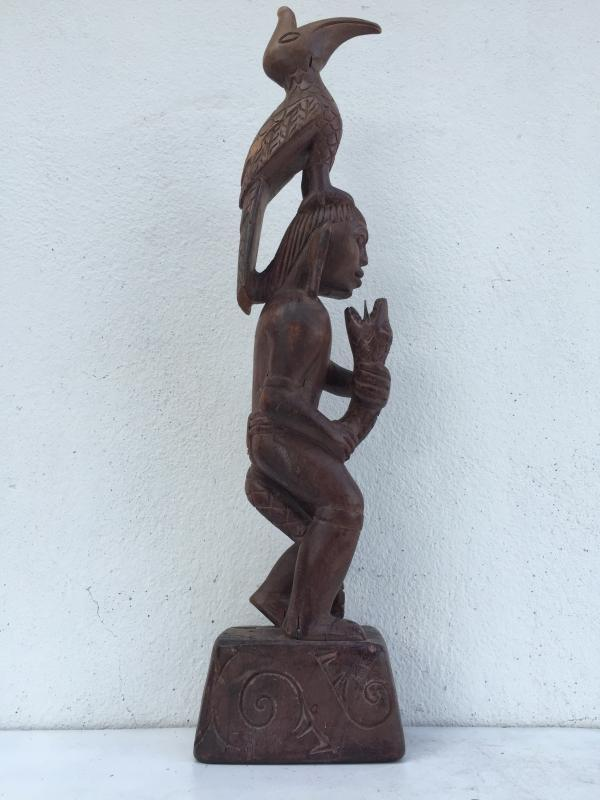 WARRIOR & NATURE IMAGE Antique Dayak Statue Sculpture Icon Figure Home Bar Office Borneo