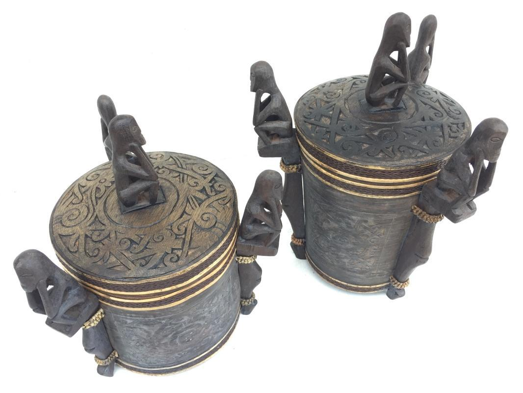 2.) TWO GORGEOUS CONTAINER  LUPONG DAYAK Medicine Box Statue Borneo Artifact