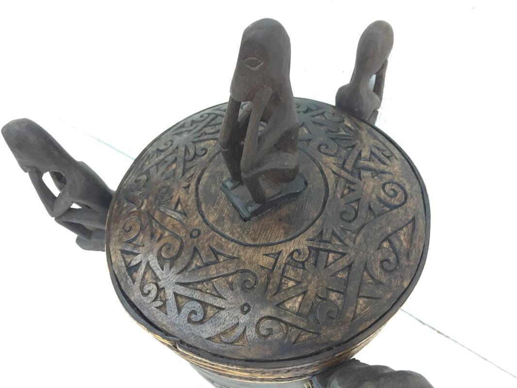 6.) TALL LUPONG CONTAINER 320mm DAYAK DYAK BOX Medicine Statue Artifact Borneo