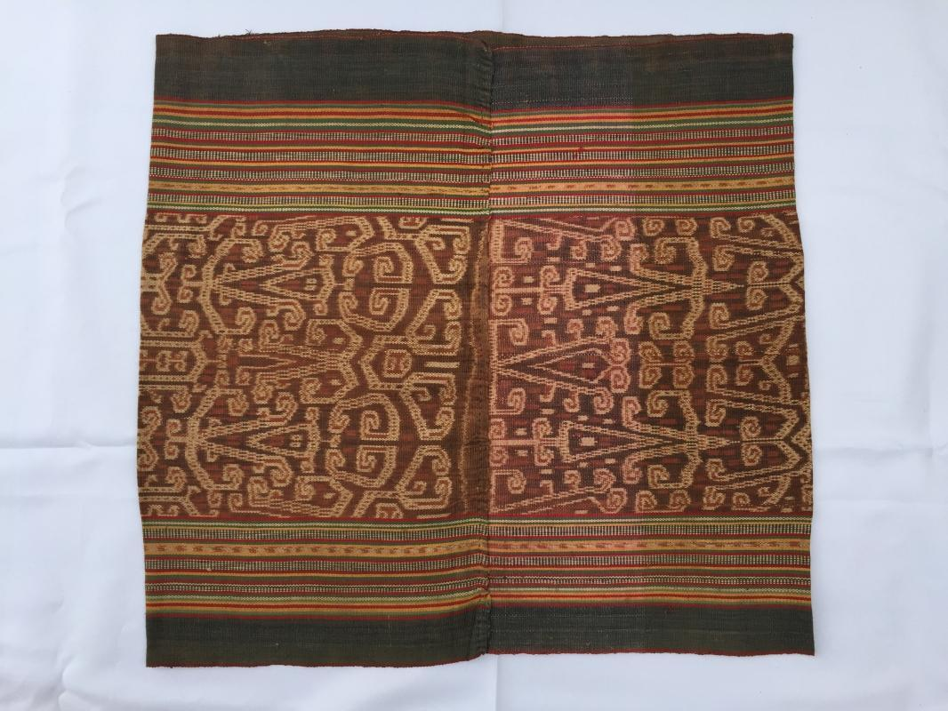 INTERESTING IKAT SKIRT Skull Basket Head Dayak SARONG LADIES GARMENT OUTFIT #198