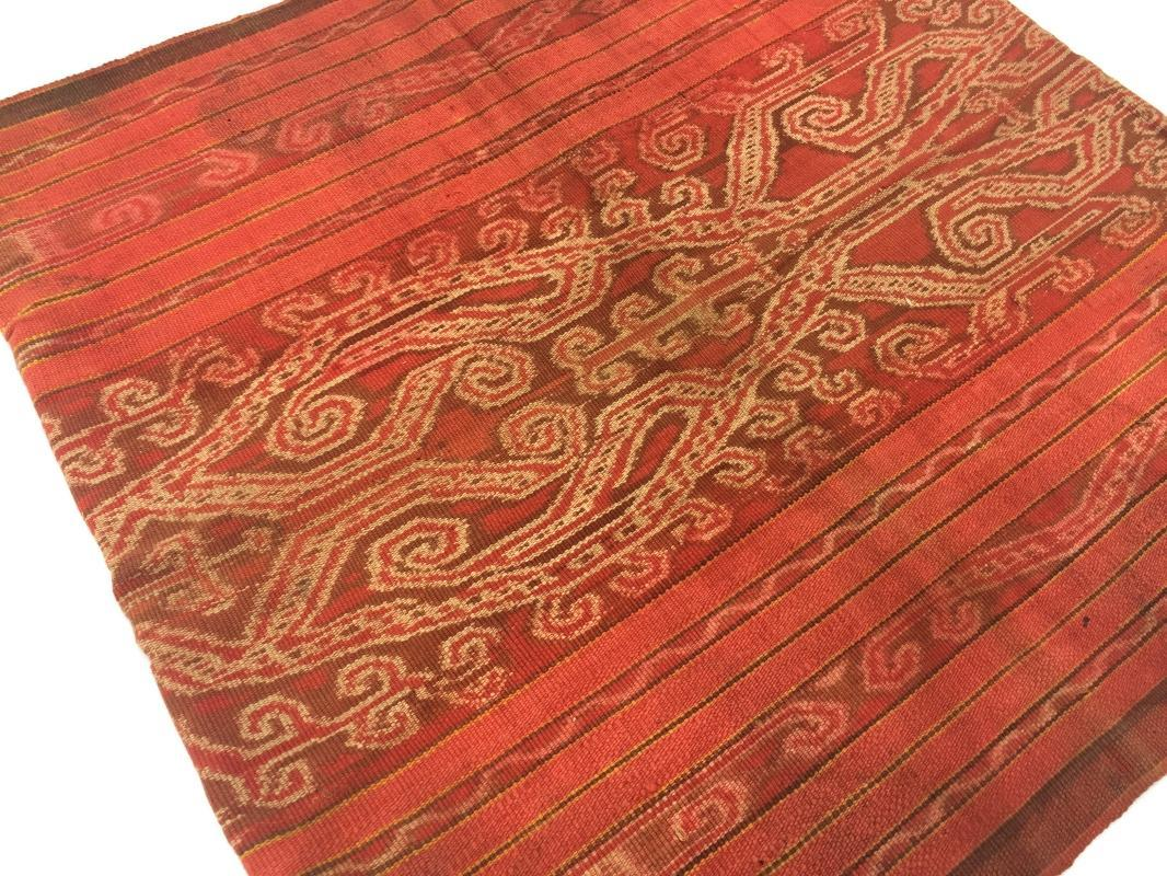 BLOOD RED Tribal Headhunter Old Sarong Skirt Dress Costume Traditional Borneo Asia #319