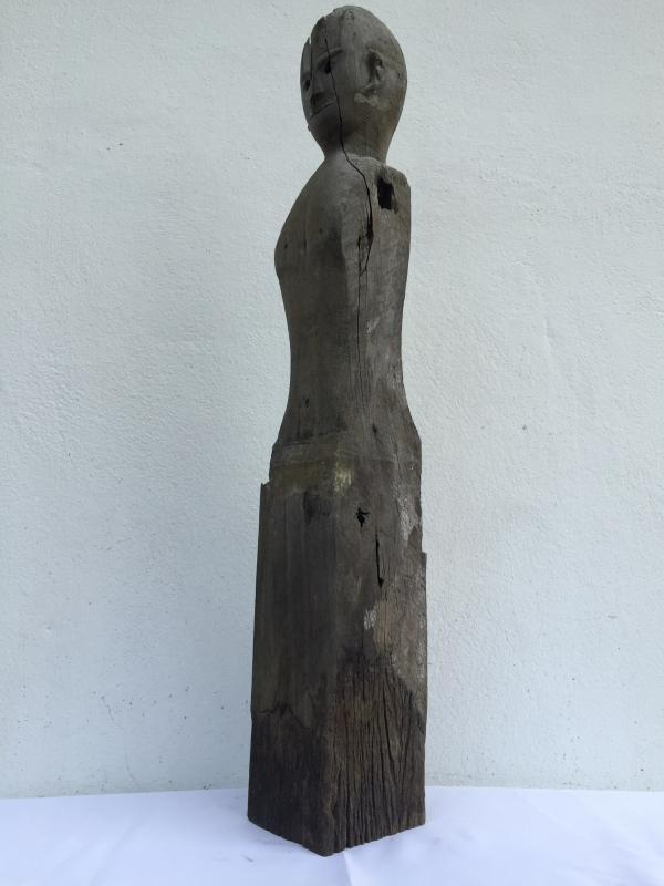 IRONWOOD DAYAK 830mm STATUE POLE Patung Dyak Figure AUTHENTIC AGED SCULPTURE