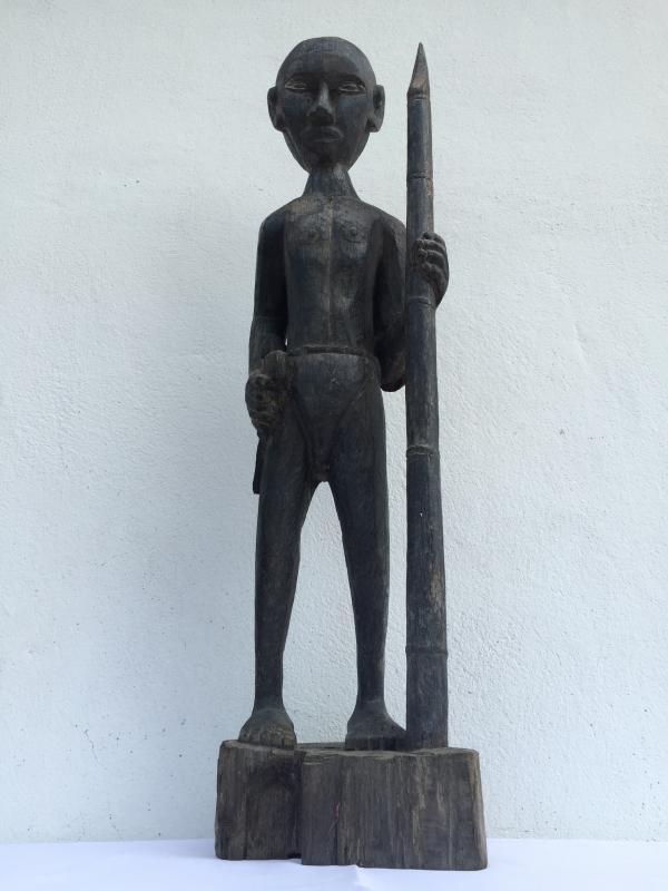 MASSIVE 840mm DAYAK WARRIOR & SPEAR Antique Sculpture Artifact Borneo Headhunter