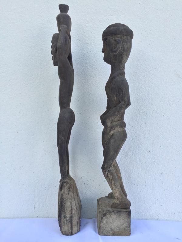 HEADHUNTER 520mm HOME GUARDIAN STATUE Authentic Dayak Primitive Figure Ironwood
