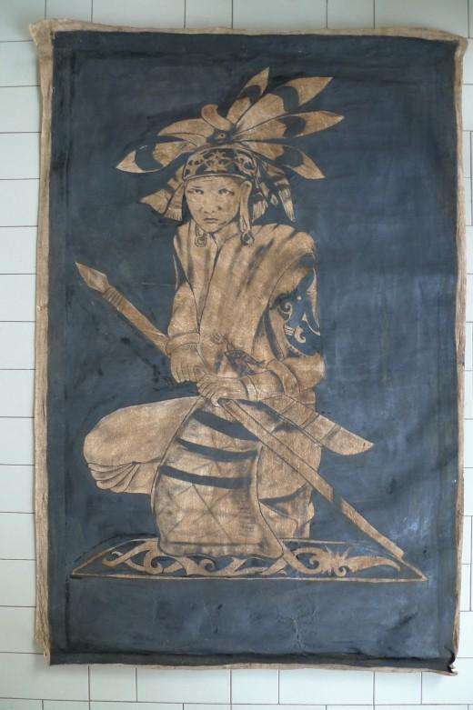 #4 OIL PAINTING: 1400 x 900mm DAYAK HUNTER FIGURE Sculpture Drawing Wall Sarawak