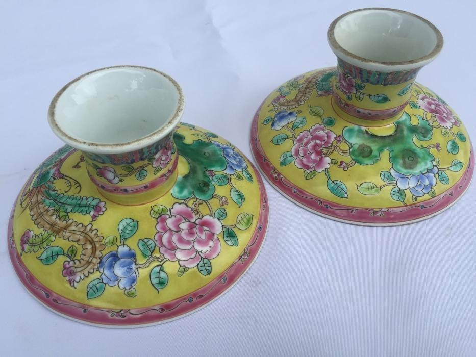 TALL TRAY (One Pair) Baba Nyonya Fruit/Food/Candy Tray Dining Deco Chinese Ceramic