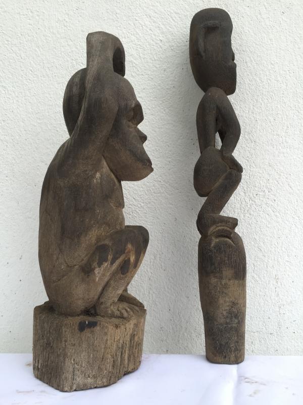 GUARDIAN POLE & ORANG UTAN Authentic Dayak Eroded Statue Primitive Figure Borneo