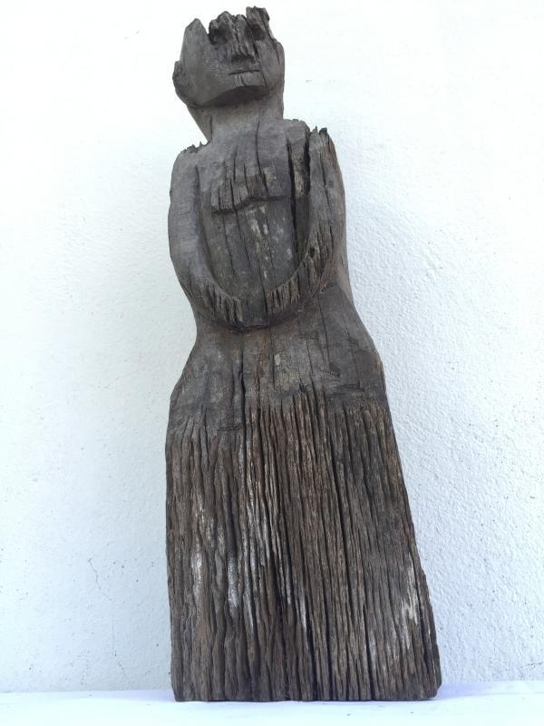 ERODED GUARDIAN 620mm DAYAK STATUE Patung Kebahan Primitive Figure Sculpture Art