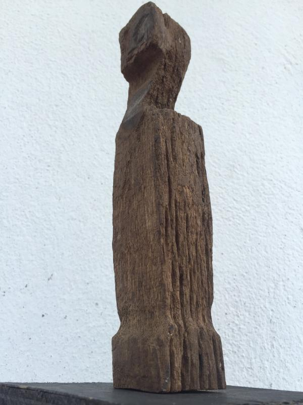 ANTIQUE ERODED STATUE Ancestral Guardian Pole Image Icon Sculpture Borneo #8