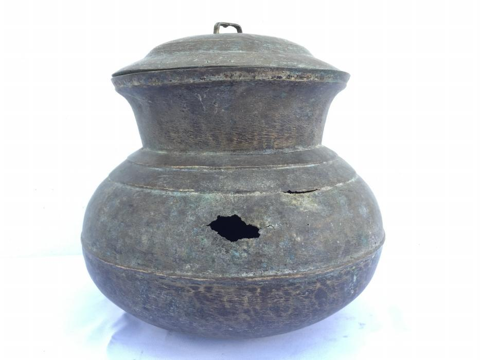 COOKING POT Of Borneo 230mm Antique Brass Cooker Basin Couldron Metal