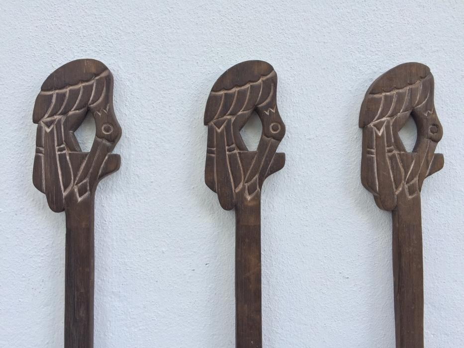CARVED TRIBAL PADDLE 1050mm Wooden Paddles Kayak Canoe Rafting Water Sport Regatta