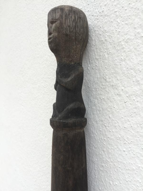 TONGKAT RAJA 1490mm CHIEFTAN POLE Stick Elders Dayak Figure Statue Sculpture