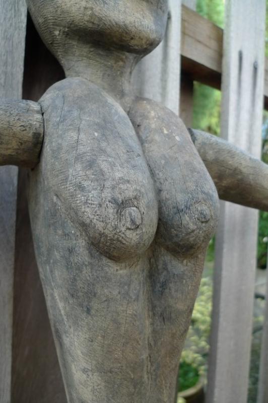 DAYAK BAHAU 830mm FEMALE BREAST FIGURE Dyak Antique Statue Sculpture Native Asia