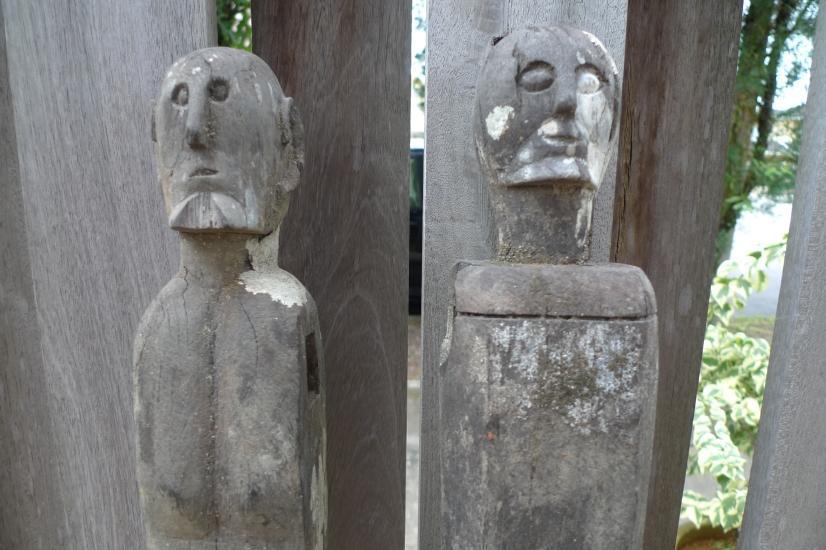 MALE & FEMALE GUARDIAN 610-620mm STATUE Dayak Sculpture Antique Figure IRONWOOD