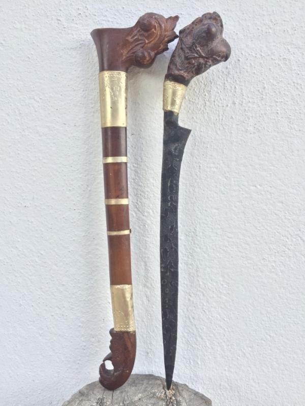 KERIS RENCONG 380mm BADIK Tumbuk Lada Holy Verses Jawi Kris Kriss Dagger Knife Sword #2