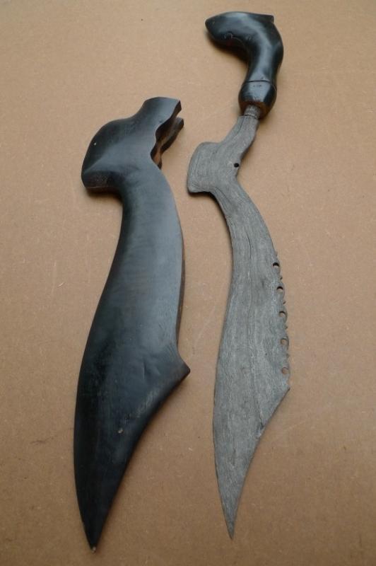 1.) OLD BLADE 530mm KUJANG JAWA Knife Weapon Dagger Sword Parang Keris Samurai