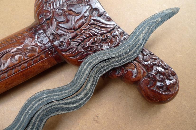 D.) KRIS Gabilan Madura 13 Luk BLACK MAGIC (Pamor ADEQ) Knife Weapon Sword Keris