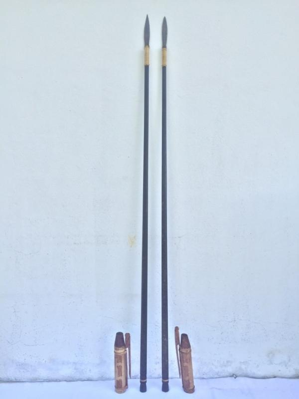 TWO 1860mm BLOWPIPE SPEAR Borneo & Quiver Tribe Tribal Native Primitive Hunting Weapon Jungle Survival