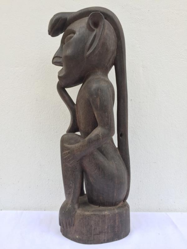 LARGE SICKNESS STATUE 680mm Melanau Dayak Figure Sculpture Hardwood Tribal Ethnic