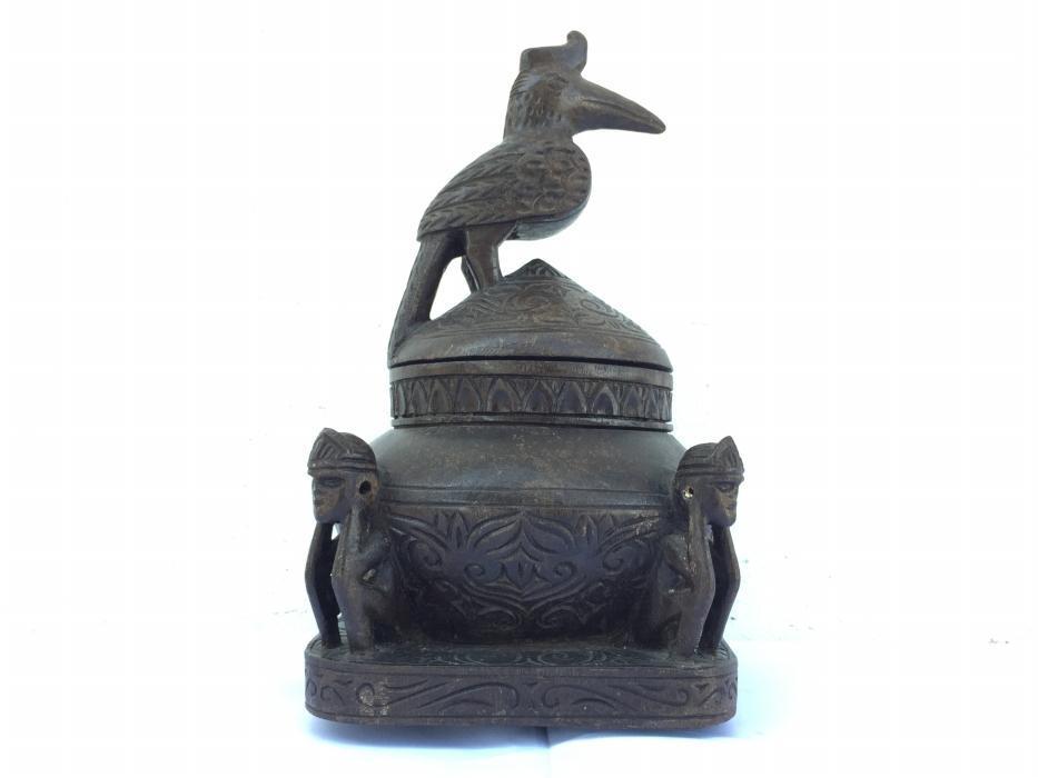 AUTHENTIC ANTIQUE 5.7 lb Shaman Medicine Box Container Statue Sculpture