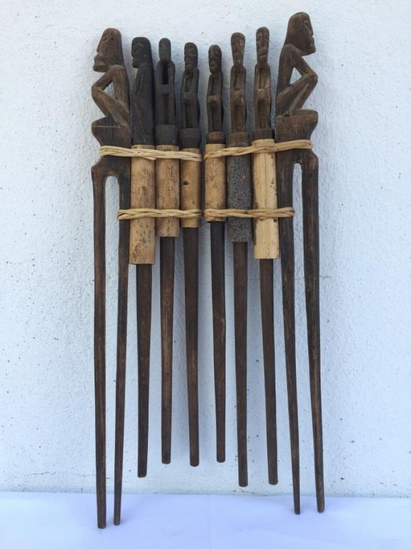THREE IN ONE TunTun Ritual Pole Stick Hunter Headhunter Dayak Dyak Statue Borneo
