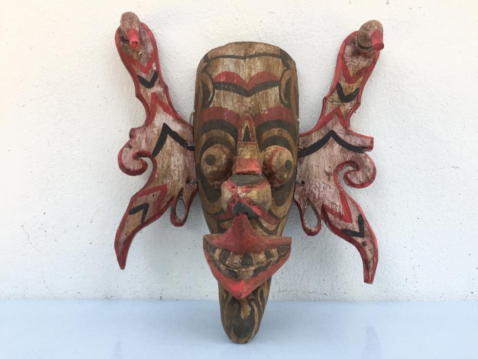 TOPENG HUDOG DAYAK MASK Orang Ulu Borneo Facial Face Image Home Bar Sculpture