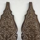 ONE PAIR Carved Wooden Shield Tribal Native Head hunter Tribe Borneo Dayak ARMOR
