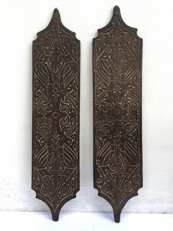 TWO TRIBAL (Height: 310mm) SHIELD Native Head hunter Tribe Dayak Borneo ARMOR ART