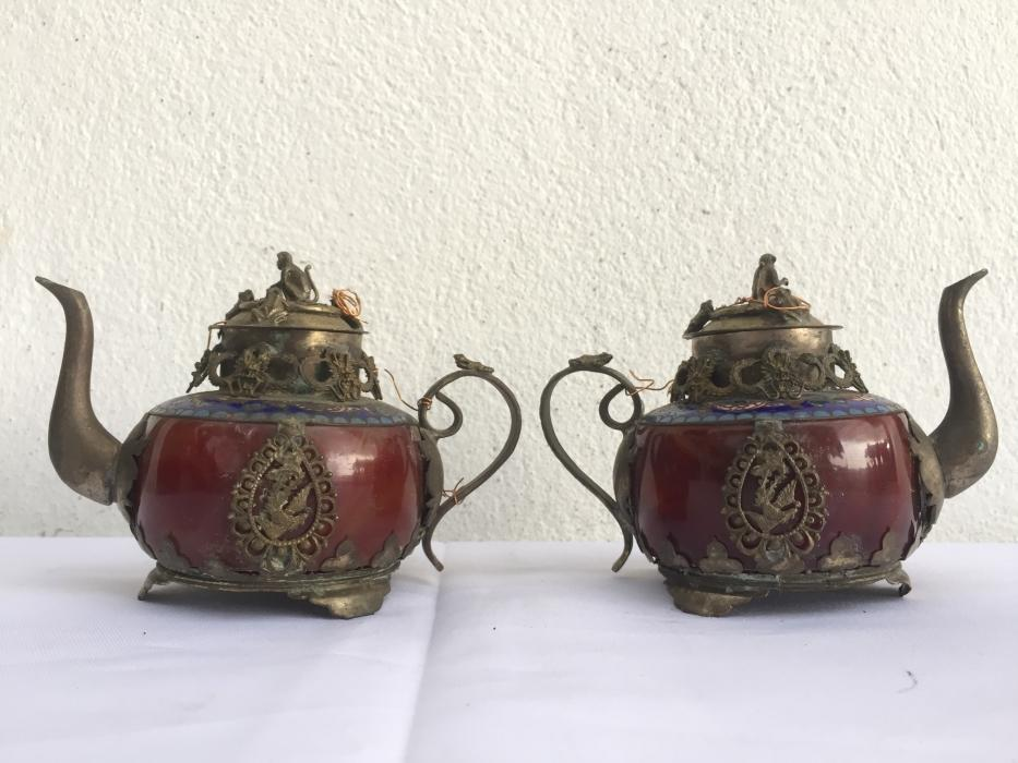 ONE PAIR Chinese Teapot Gem Jade Feng Shui Dragon Tea Jar Kitchen Ware