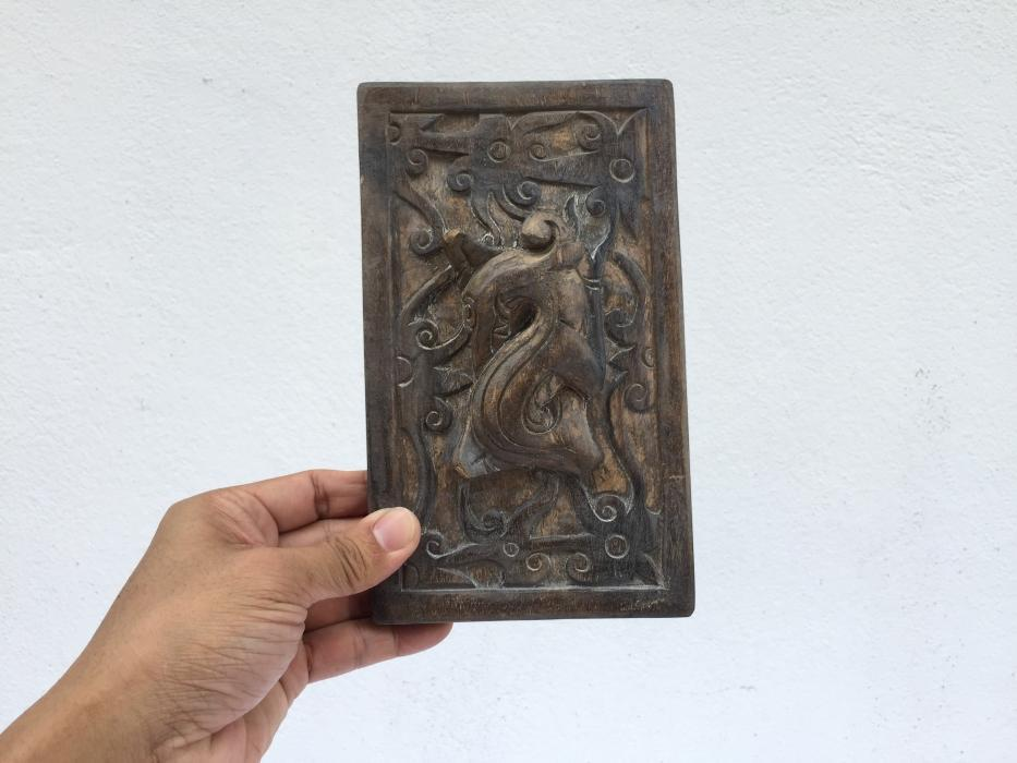 Large 205mm TATTOO INK BLOCK Art Body Piercing Tribal Tribe Statue Figure Dayak Borneo #3